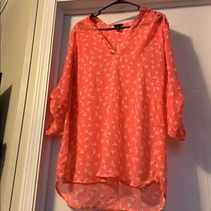 Pretty Coral top with birds